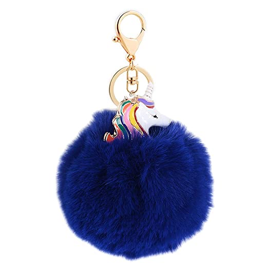 Image Unavailable. Image not available for. Color  Mwfus Sweet Women Girls  Unicorn Faux Fur Pompom Ball Key Chain ... b4389a586