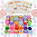 FUN LITTLE TOYS 168 Pieces Easter Stamps for Kids, Assorted Stamps and Stickers for Easter Egg Fillers, Easter Basket Stuffers, Easter Party Favor for Kids