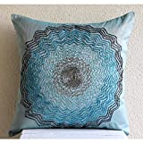 """Luxury Blue Decorative Pillows Cover, Beaded Flower Medallion Throw Pillows Cover, 18""""x18"""" Pillow Case, Square Silk Pillowcase, Floral Art Deco Pillow Covers - Blue Blast"""