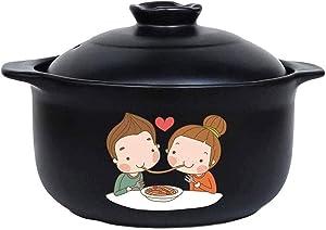 LIUSHI Casserole Cookware Ceramic Round Black Dish Casserole/Clay Pot/Earthen Pot/Ceramic Cookware