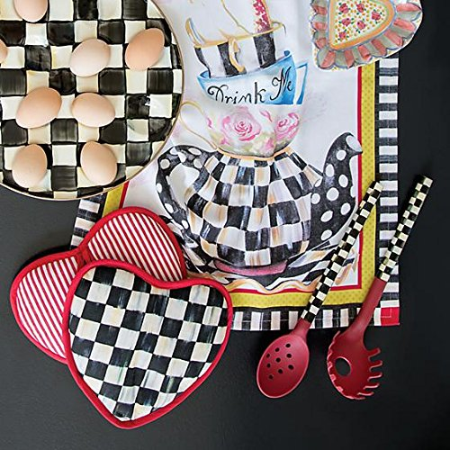 MacKenzie-Childs Hot Pot Holder Pads – Cotton Kitchen Pot Holder - Courtly Check Black and White Heart Oven Pads