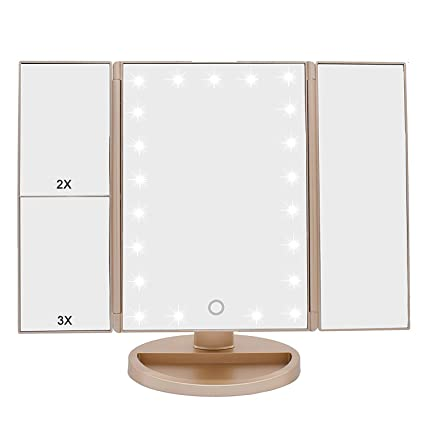 WEILY LED Lighted Makeup Mirror With 3X/2X/1X Magnification And Touch  Screen,