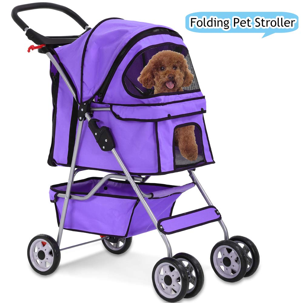 Cat Dog Stroller for Small & Medium Pets Up to 35Lbs Kitten Doggie Cage Foldable Travel Carrier Strolling Cart Durable 4 Wheels Large Pet Stroller Jogger with Cup Holders and Removable Liner (Purple) by Dkeli