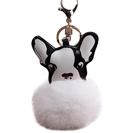 Image Unavailable. Image not available for. Color  Lovely Fluffy Ball French  Bulldog Keychain Pompom Key Ring Cute Holder Bag Charm ... 468c3296cc768