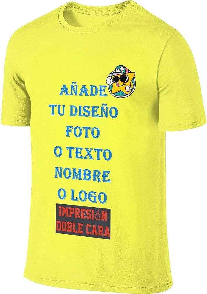 Hombre Camiseta Personalizada con Foto Delantera y Trasera con Cuello Redondo Manga Corta de Algodón (Amarillo, S): Amazon.es: Ropa y accesorios