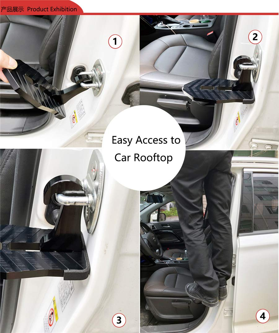 RONSHIN Folding Car Door Latch Hook Step Mini Foot Pedal Ladder for Jeep SUV Truck Roof