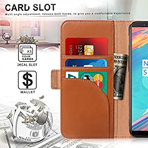 OnePlus 5T Case, FYY [RFID Blocking wallet] Genuine Leather 100% Handmade Wallet Case Credit Card Protector for OnePlus 5T Brown
