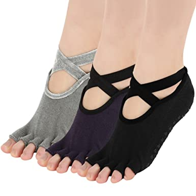 VBIGER 3 Pares Calcetines de Yoga Anti-deslizante con Dedos Descubiertos para mujeres Pilates Yoga Danzas: Amazon.es: Ropa y accesorios