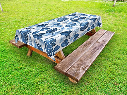 Lunarable Leaf Outdoor Tablecloth, Palm and Mango Tree Branch and Hawaiian Hibiscus Flower Image, Decorative Washable Picnic Table Cloth, 58 X 120 Inches, Pale Blue Turquoise and Dark Blue ()