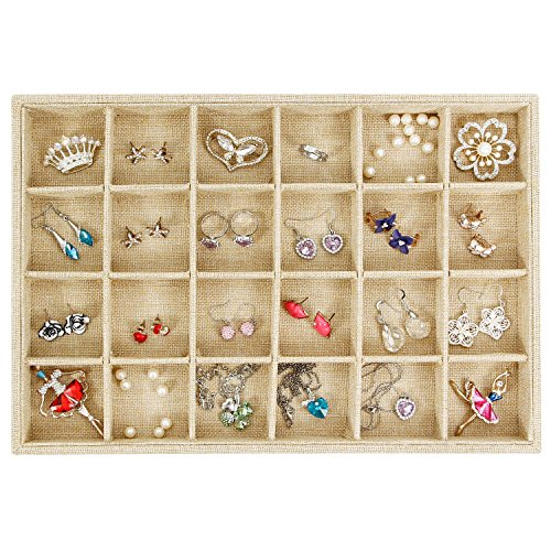 Divider Tray (Valdler Sackcloth Stackable 24 Grid Jewelry Tray Showcase Display Organizer)