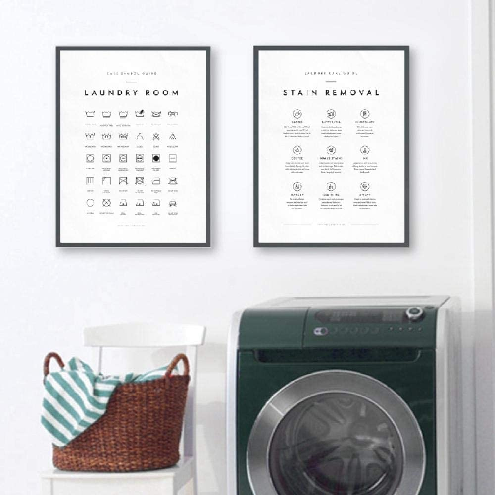 Black White Wall Art Painting Laundry Care Symbols Guide Canvas Art Posters and Prints Laundry Room Decor Minimalist Picture 12x16inx2 Unframed