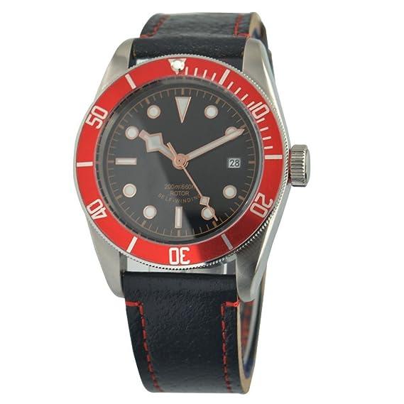 41 mm corgeut bisel cristal de zafiro rojo japonés movimiento Miyota (ciudadano) PARNIS automática reloj de pulsera: Amazon.es: Relojes