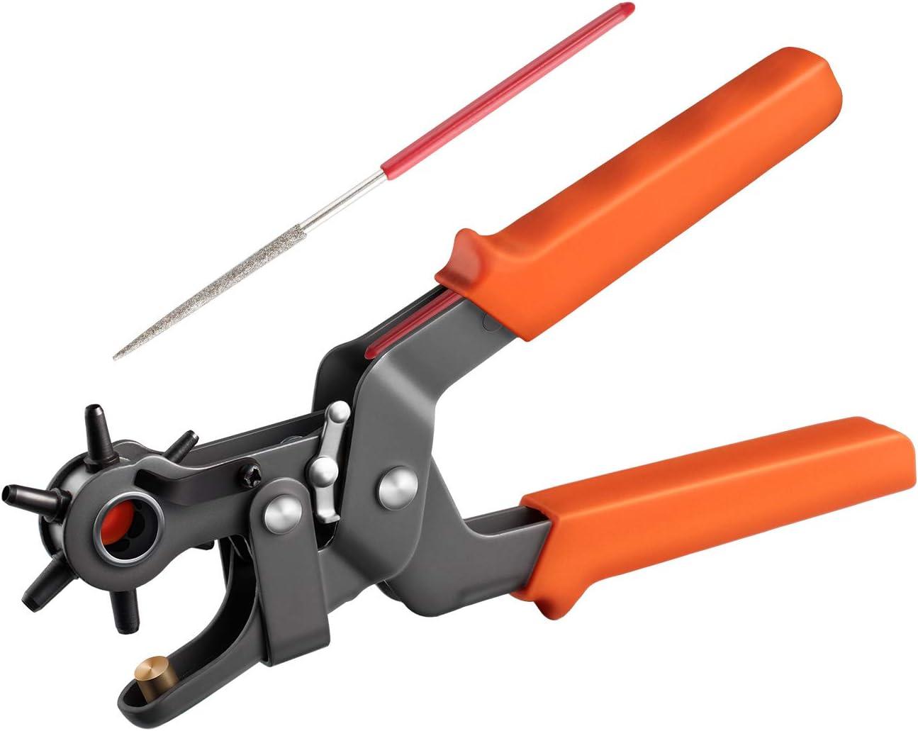 COSYLAND Finder Alicates Sacabocado Agujero Perforadora Puzones Alicates Sacabocado Agujerode 6 Tamaños 2/2.5/3 /3.5/4/ 4.5 mm para Cinturones y Cuero