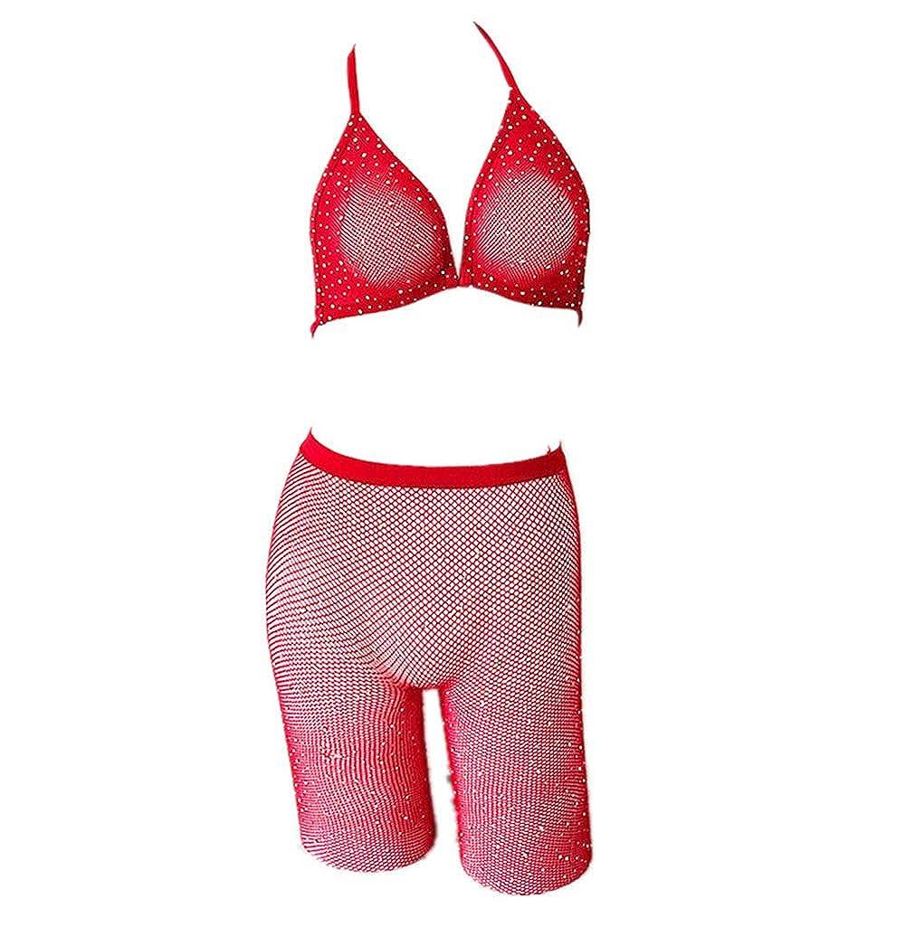 d9d68ced08 Amazon.com: lisenraIn Women Two Piece Lingerie Fishnet Swimwear Rhinestone  See Through Clubwear Bikini Top and Shorts Set (Black): Clothing