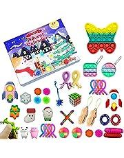 Fidget Toys jul nedräkningskalender, 24 dagars adventskalender sensorisk leksaksset presentförpackning 2021 Pop On It Simple Dimple Party Favor överraskningsgåvor för pojkar flickor