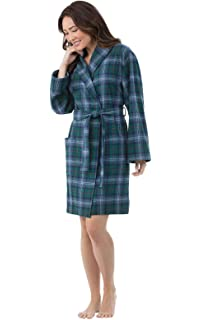 PajamaGram Classic Plaid Ladies Robe - Short Robes for Women ed3bbc259