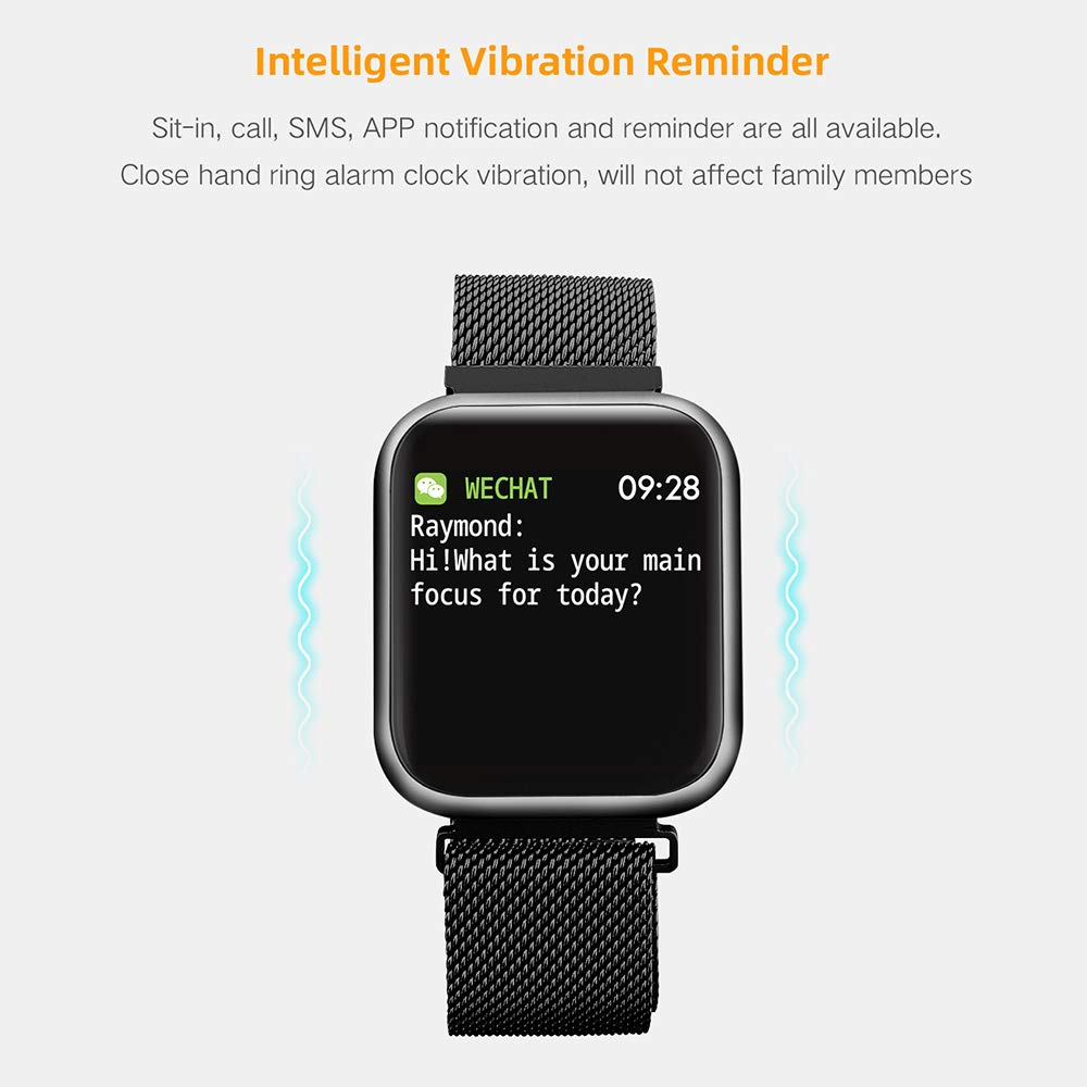Byoung Activity Tracker for Girls, Fitness Watch IP68 Waterproof Smart Pedometer Watch with All Day Heart Rate Monitor/Blood Pressure, 2019 Upgrade Full Touch Screen Smart Wristwatch Bracelet, Black by Byoung (Image #7)