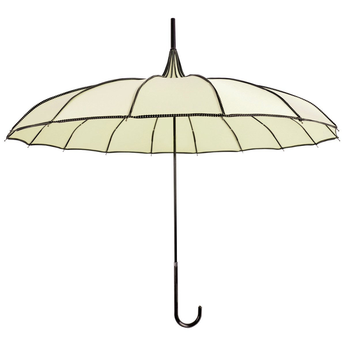 Kung Fu Smith Women Vintage Polka Dots Travel Stick Rain Pagoda Parasol Umbrella (Beige)