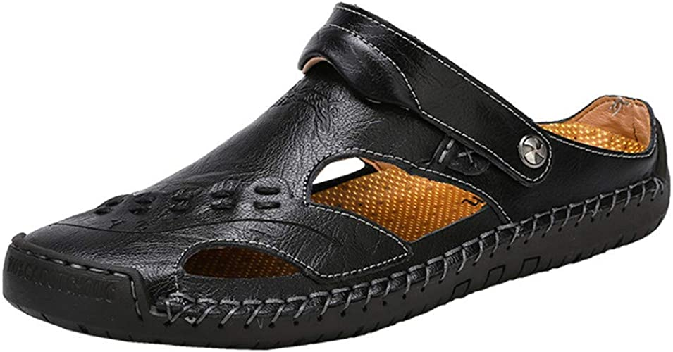 Mens Leather Sandals Shoes Casual Breathable Beach Summer Outdoor Hole Walking