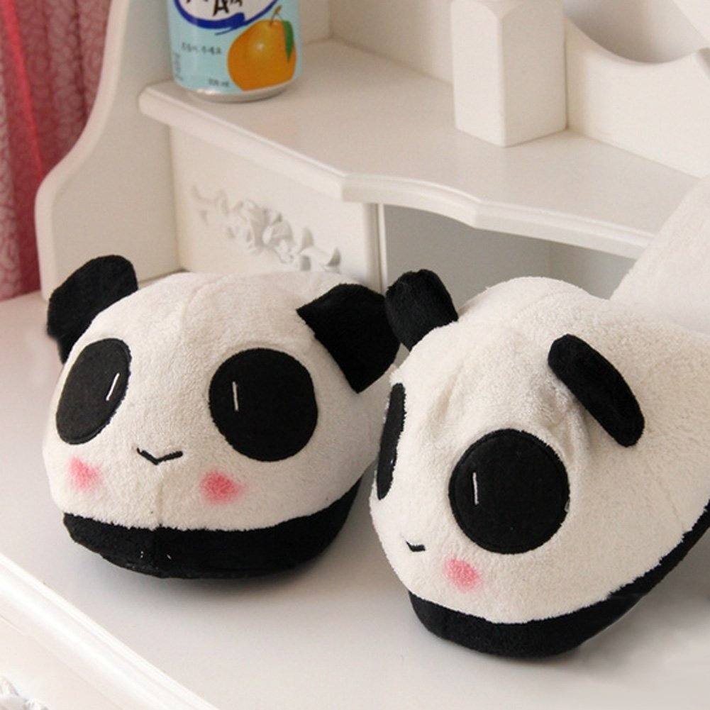 Demiawaking Frauen Niedlich Panda Winter Warm Plüsch Rutschfeste Indoor Hausschuhe (Pantoffel)