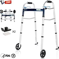 OasisSpace Compact Folding Walker, with Trigger Release and 5'' Wheels for the Seniors [Accessories Included] Portable Lightweight Supports up to 350 lbs