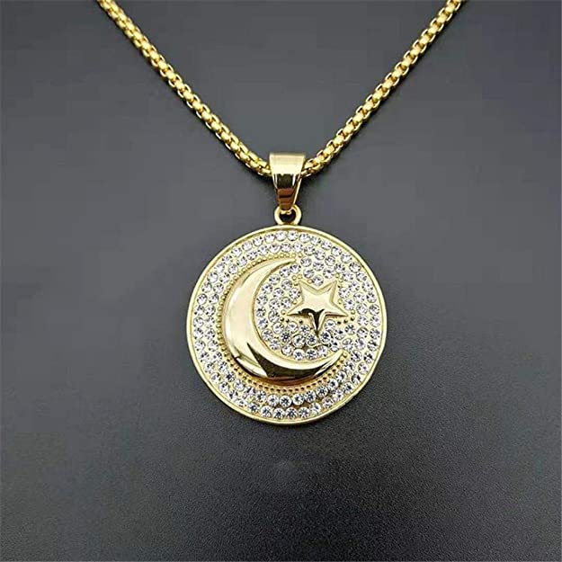 Muslim Crescent Moon And Star Pendant Stainless Steel Round Necklace Hip Hop Iced Out Women Men Islamic Jewelry | Amazon.com