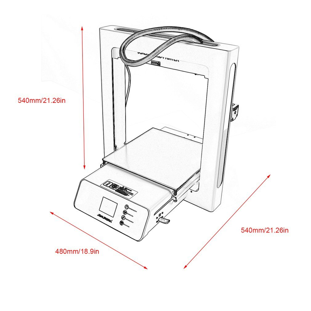 JGAURORA 3D Printer A5 Home School Industry Use Full Metal Frame Large Print Volume 305X305X320mm Color Touch Screen Resume Print Filament Runs Out Detection 3D Printing Machine