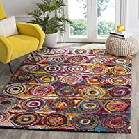Safavieh Fiesta Shag Collection FSG359M Geometric Circles Abstract Art Multicolored Area Rug (4 x 6)