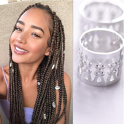 20Pcs Dreadlock Beads Gold Silver Dread Hair Braid Adjustable Cuff tube Clip✔UV