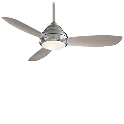 Minka-Aire F517-BN Downrod Mount, 3 Silver / Pewter Blades Ceiling fan with  59 watts light, Brushed Nickel