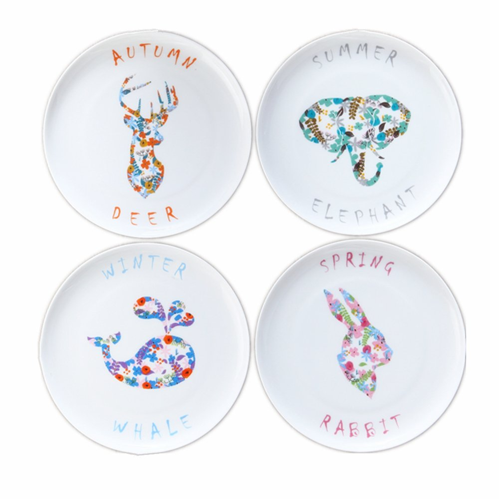 Huayoung Colorful Season Series Ceramic Plate Set-Pack of 4 Creative Animal Dessert Plates (8-inch)