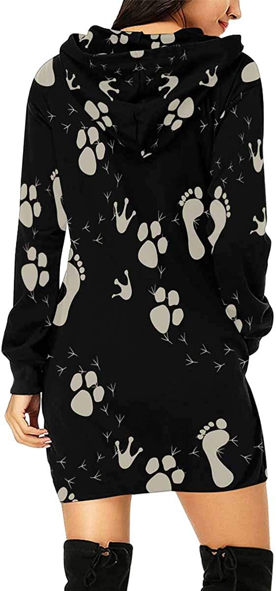 INTERESTPRINT Womens Hooded Dress with Pocket Footstep Pattern Pullover Tunic Drawstring