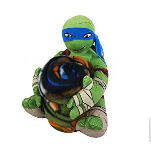 Northwest Officially Licensed Fleece Throw Blanket and Stuffed Character Plush Pillow - Teenage Mutant Ninja Turtles Leonardo