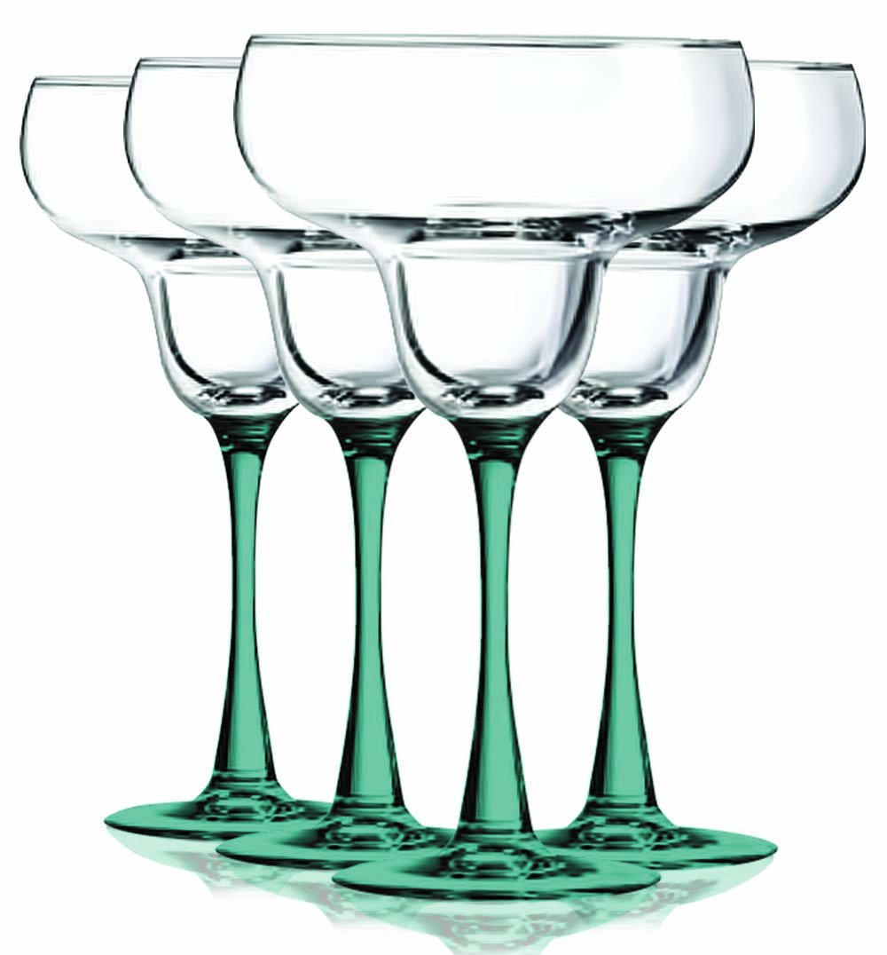 Amber Margarita Glasses with Beautiful Colored Stem Accent - 14.5 oz. set of 4- Additional Vibrant Colors Available by TableTop King