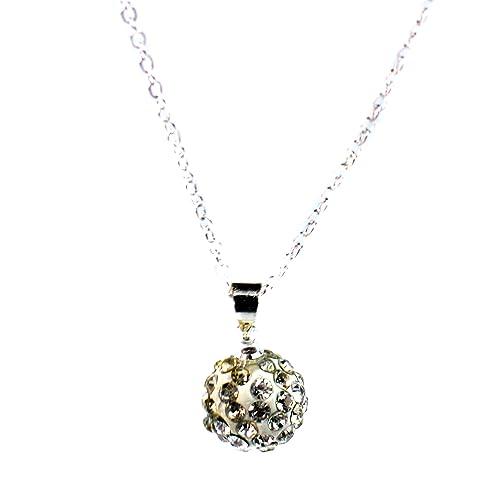 d55fe9d4348d Cristales Swarovski tono plata Collar de bolas de discoteca ...