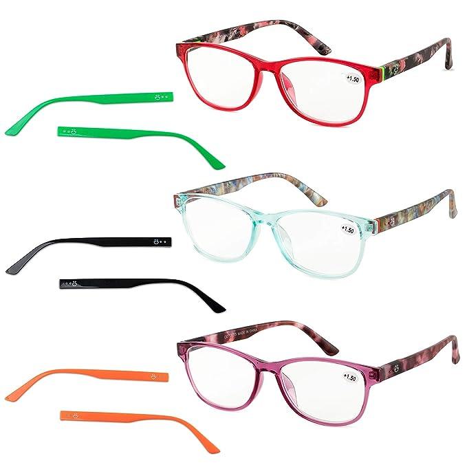 Amazon.com: Gafas de lectura para mujer, paquete de 3 ...