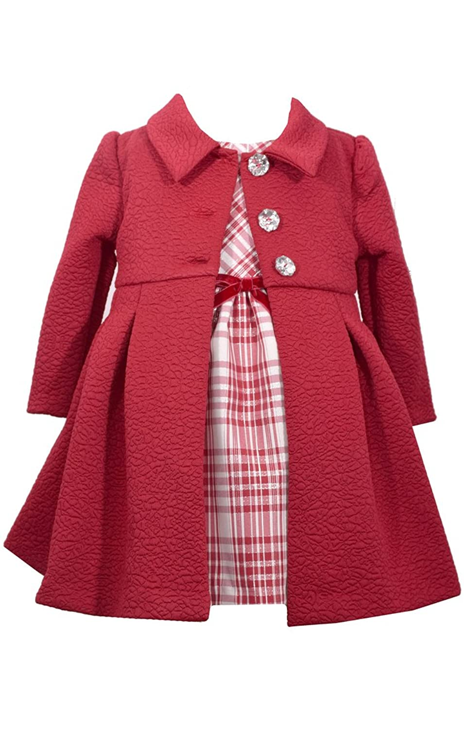 Kids 1950s Clothing & Costumes: Girls, Boys, Toddlers Bonnie Jean Girls Cranberry & Silver Plaid Dress with Cranberry Coat $49.99 AT vintagedancer.com