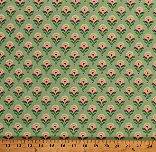 Cotton Flowers Floral Blooms Blossom Gardens Gardening Botanical Spring Buttercup Jade Clementine Heather Bailey Cotton Fabric Print by the Yard (pwhb053-jadex)