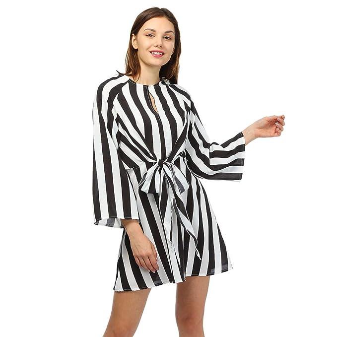 Yesmile Damen Kleider Damen Gestreift Kleid Mini Strandkleid Vertuschung  Kleid Strand Rock Frauen Ärmellos Sommerkleider Knielang Tunikakleid   Amazon.de  ... cda9ee2b7f