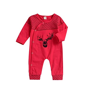 62e0163a5ad VIWORLD Baby Girls Boys Christmas Clothes Newborn Elk Bodysuit Infant Long  Seleeve Romper Jumpsuit Xmas Pajamas