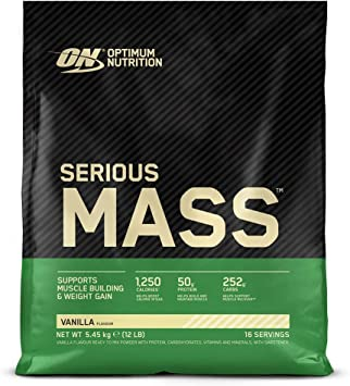 Optimum Nutrition Serious Mass Proteina en Polvo, Mass Gainer Alto en Proteína, con Vitaminas, Creatina y Glutamina, Vainilla, 16 Porciones, 5,45kg, ...