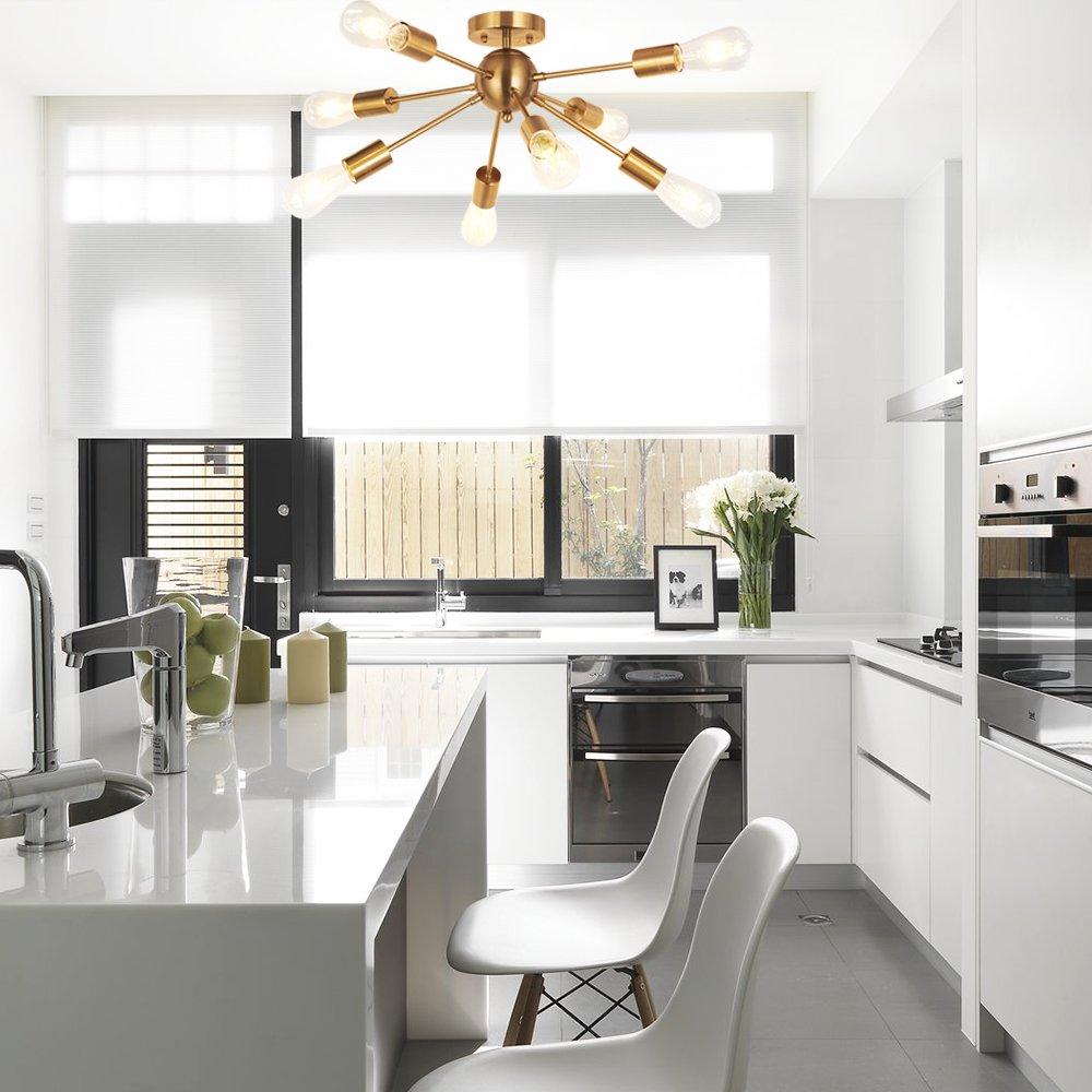 MELUCEE 8-Light Modern Sputnik Chandelier Brushed Brass Semi Flush Mount Ceiling Light Industrial Pendant Lighting Fixtures for Dining Room Bedroom Kitchen Living Room and Hallway by MELUCEE (Image #7)
