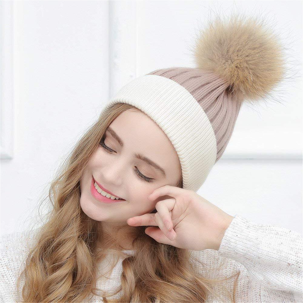 Thundertechs The Girlfriend Boyfriend Women's Cap, Winter Simple, Double Knitted hat, Cute Hair Ball Cap, Autumn Winter (Color : B, Size : M (56 58cm))
