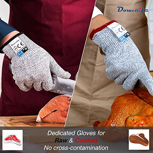 Dowellife Cut Resistant Gloves Food Grade Level 5 Protection, Safety Kitchen Cuts Gloves for Oyster Shucking, Fish Fillet Processing, Mandolin Slicing, Meat Cutting and Wood Carving. (Small-2 Pairs)