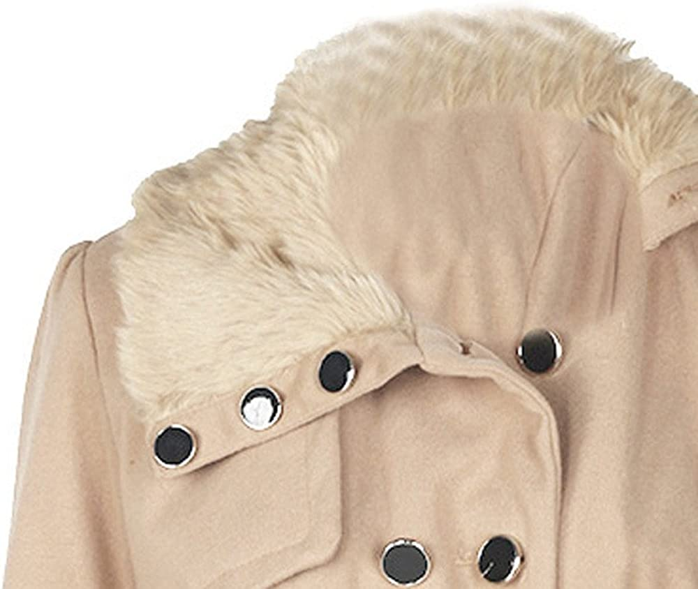 JMETRIE Womens Fashion Faux Fur Lapel Double-Breasted Thick Wool Trench Coat Jacket