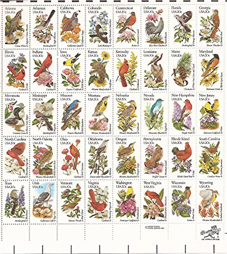 US State Birds and Flowers Full Sheet of Fifty 20 Cent Stamps Scott 1953-2002 (Birds Flowers State And)