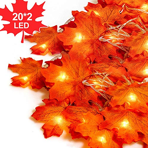 Fall Decor Thanksgiving String Garland - LOOUS 40 LED Maple Leaves Fairy Lights 7.9 Feet Fall Garland Decorations Lights Waterproof Maple Leaf 3AA Battery Operated for Party,2 Pack (Leaf Fall Lights)