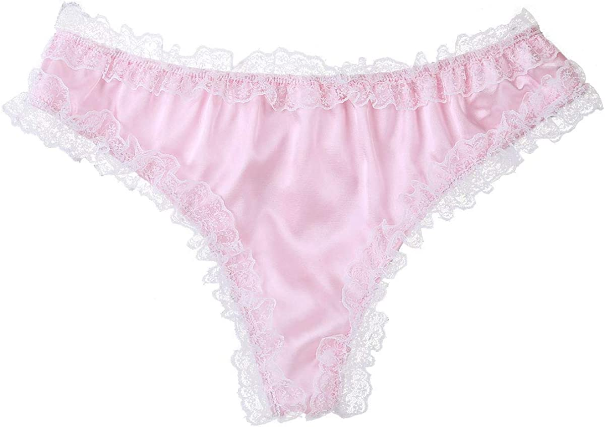 YiZYiF Mens Silky Satin Flutter Bowknot Maid Cos Ruffled Underwear Sissy Panties