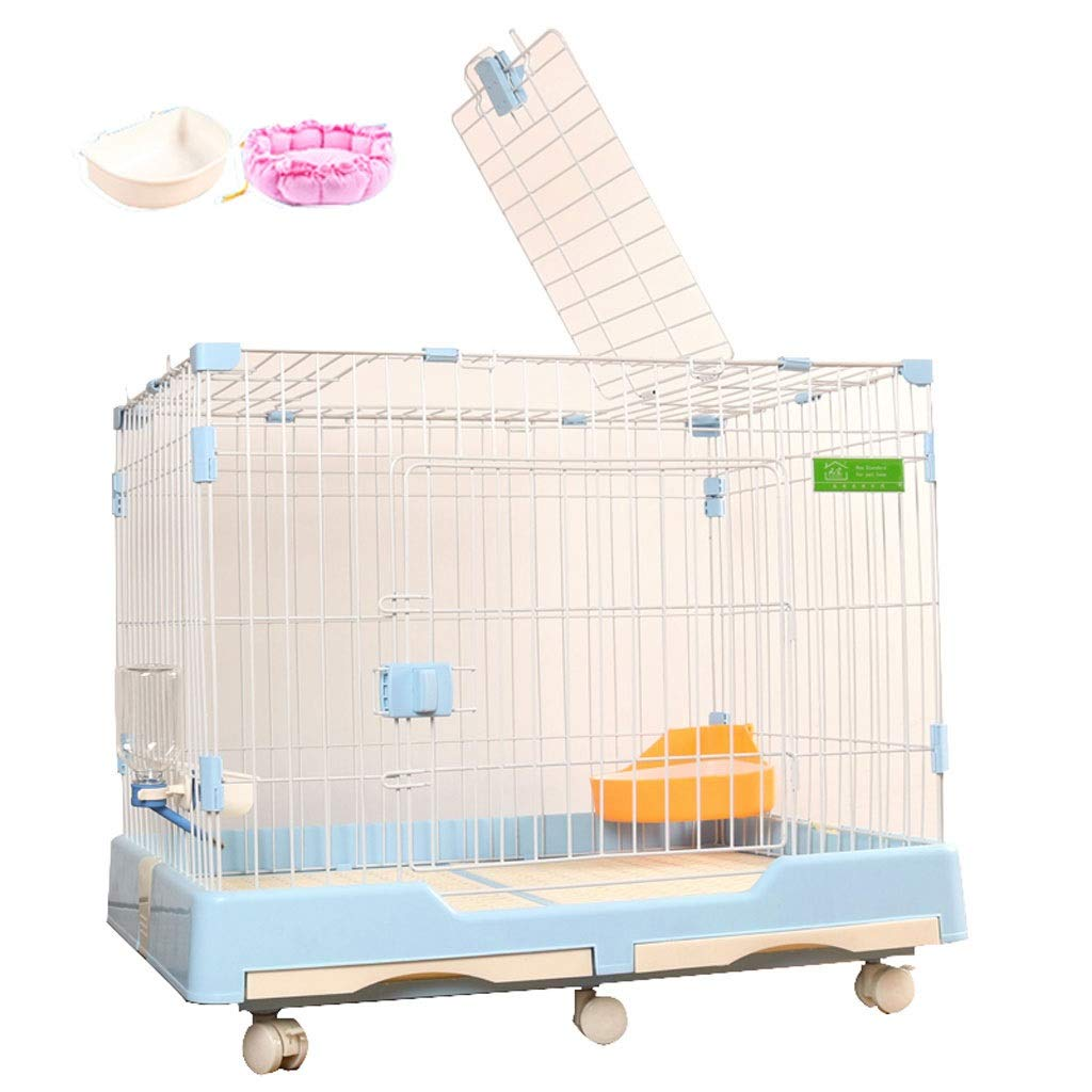 bluee L bluee L Lovingroy999 Dog Cage Crate Kennel Single Door& Double Door Pet Cage With Bowl and Mat,multiple color and Size (color   bluee, Size   L)