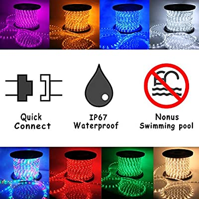 VidaGoods 150' ft LED Rope Lights Party Patio Home Outdoor Xmas Christmas Holiday Restaurant Patio Decorative Lighting 110v -- IP67 Waterproof